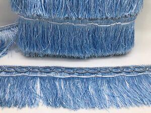21metre Light Blue Fringe Trim, 10cm Wide Fringing (Bargain Price)