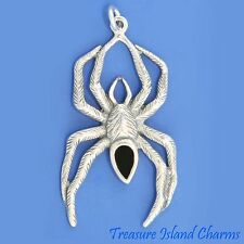 LARGE SPIDER WITH BLACK ENAMEL BODY HAIRY LEGS 925 Sterling Silver Charm Pendant