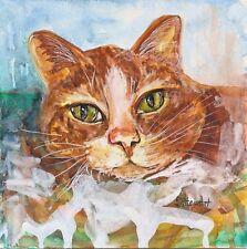 Orange Tabby Cat Art Loose 6x6 Watercolor Style Pen +Ink Painting Penny StewArt