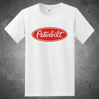 New Peterbilt Red Logo Trucker Trucks Men's White T-Shirt Size S to 3XL