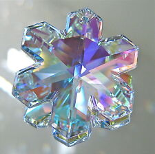 Swarovski Crystal AB 20mm Snowflake Prism Ornament Pendant, Logo Retired