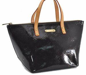 Auth Louis Vuitton Vernis Bellevue PM Hand Bag Wine Red Purple M93585 LV E0644