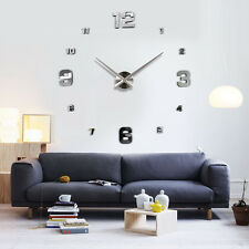 Modern DIY Large Wall Clock Kit 3D Mirror Surface Sticker for Home Office Room H