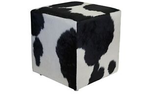 Cowhide Pouf Ottoman Cube Color Black and White, TOP Quality