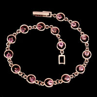 Unheated Round Pink Tourmaline 3mm 925 Sterling Silver Bracelet 7.5 Inches