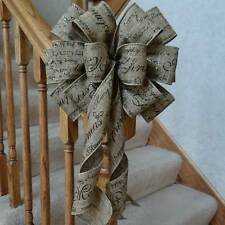 "10"" W BURLAP/LINEN TYPE CHRISTMAS BOW SCRIPT PATTERN ~DECORATION WREATHS GIFTS"