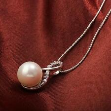 18 K ct White Gold Filled Pearl Pendant Fashion Necklace -L440mm