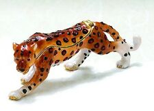 Fearless Cheetah ~ Bejeweled Enamel Trinket Box 3861