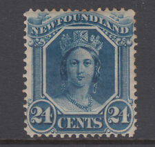 Newfoundland Sc 31 MLH. 1865 24c blue Queen Victoria on translucent paper, F-VF
