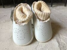 Vintage BABY Leather Shoes Size 2 Box Gift Card Antique Doll Toddler *Sweet