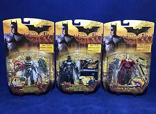 3 New BATMAN BEGINS Figures SILVER VARIANT BATTLE GEAR + Scarecrow RA'S AL GHUL