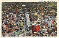 Fort Wayne Indiana 1930-40s Postcard Aerial View of Ft Wayne