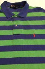 Men's Large, Blue & Green Striped, Polo Ralph Lauren, Pique Knit shirt.