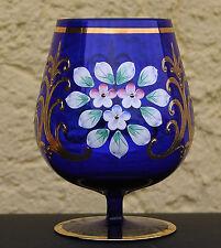 Böhmischer Glas Pokal in Kobaltblau mit edler Emaillemalerei - Mittlere Grösse !