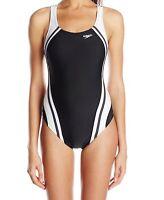 Speedo Women Black White Size 12 Splice Powerflex Eco One-Piece Swimsuit $78 355