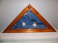 Vintage U.S. American Flag in Wooden Glass Face Display Case Estate Find