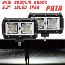 2X 5 Inch LED Work Light Flood Beam Offroad 108W 16000 Lumen Fog Driving light