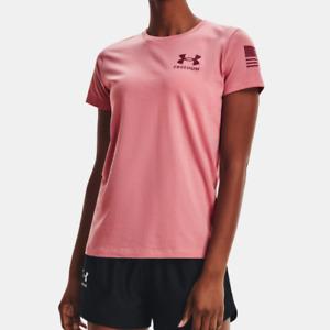 Under Armour Women's UA Heatgear Freedom Flag T-Shirt. Pink Clay/League Red