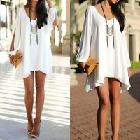 Plus Size Women Cold Shoulder Chiffon Dress Summer Casual Party Baggy Blouse Top