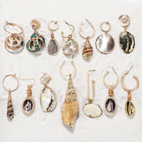 Women Summer Dangle Drop Shell Earring Geometric Irregular Conch Hook Ear studs