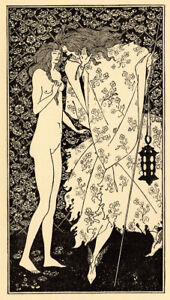 "Original 1898 line block print by Aubrey BEARDSLEY–""The Mysterious Rose-Garden"""