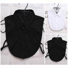Ladies Insert Necklace Button Crop Blouse Tops Detachable Choker T-Shirt Collar