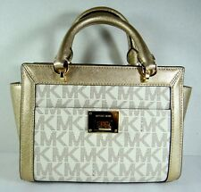 Michael Kors Tina Small Top Zip Satchel Handbag Crossbody Vanilla MK Gold