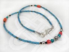 Filigrane Halskette mit Türkisen und korallfarbene Perlen - Handarbeit - Nepal