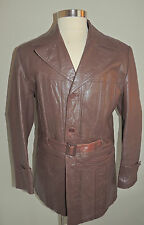 VINTAGE MONTGOMERY WARD BROWN LEATHER 3 BUTTON BELTED COAT SIZE 44T