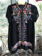 JOHNNY WAS EMBROIDERED BLACK MIKONES TUNIC SIZE MEDIUM NEW WITH TAGS
