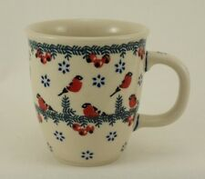 Bunzlauer Keramik Tasse MARS -rot/grün/weiß - 0,3 Liter, Wintervögel (K081-GILE)