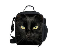 Black Cat Insulated Lunch Bag Little Kids School Cooler Lunchbox Tote Picnic Bag