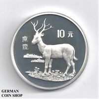 Silber PP China 10 Yuan 1994 Hirsch - Silver proof Pere David Deer