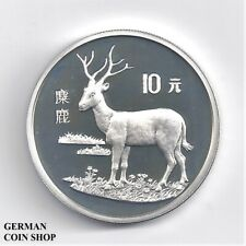 Silber PP China 10 Yuan 1994 Hirsch - Silver proof Pere David Deer