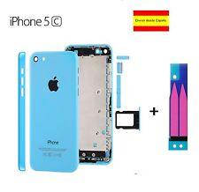 CHASIS IPHONE 5C CARCASA COMPLETA MARCO TAPA TRASERA APPLE AZUL BLUE + ADHESIVO