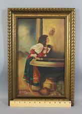 Antique Italian Genre Oil Painting, Roman Girl at Fountain, after Leon Bonnat NR