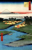 "JAPANESE LANDSCAPE ART HIROSHIGE HORIE NEKOZANE A4 CANVAS PRINT 11.7""x7.8"""