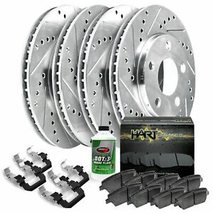 Fits Ford, Lincoln Fusion, MKZ Front Rear Drill Slot Brake Rotors+Ceramic Pads