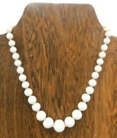 """Vintage White Opaque Milk Glass Round Bead Hand Knotted Hook Clasp 14"""" Necklace"""
