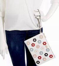 MICHAEL KORS Floral Applique Zip Wristlet NWT $128 white/multicolor flowers