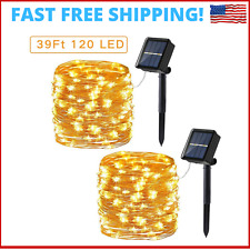 Solar String Lights For Garden 2 Pack 39ft 120 LED 8 Modes Copper Wire Outdoor