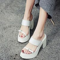 Womens Open Toe Leather Mules Sandals High Heels Platform Casual Shoes Size 8