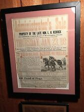 Framed 1908 Auction Posting, Bloomington, Illinois, Kerrrick Farm Mules+++