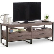 VonHaus Rustic TV Unit Cabinet 2 Drawers Console Storage Stand Media Unit