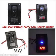 Dual Battery Test Panel ABS Rocker Switch 12V Digital Voltmeter For Boat Marine