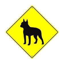 Boston Terrier Symbol Crossing Animal Xing Metal Aluminum Novelty Dog Sign 12x12