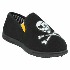 Lote: Clarks Niños Negro Polar Con Calavera Pirata Huesos Cruzados Pantuflas Zapatos de Casa Talla 11 G