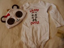 NWT 12-18 CRAZY 8 by GYMBOREE PANDA BEARY CUTE TOP & HAT