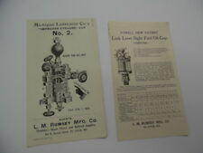 c.1903 Michigan Sight Feed Engine Lubricator Powell Oil Cup Leaflet Lot Antique