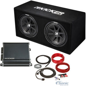 """KICKER 43DC122 Dual 12"""" Subwoofers In Vented Sub Box Enclosure+Amplifier+Amp Kit"""